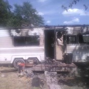Help After the Red Cross Helps House Fire Victims - burned out motor home