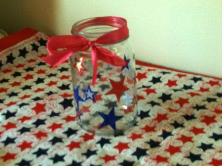 Patriotic Decorative Jar - ribbon tied to neck of the jar