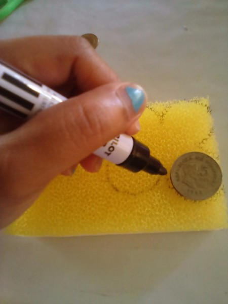 Sponge Car Air Freshener - tracing around a coin to create the pattern