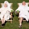 Couple Sunning Backyard