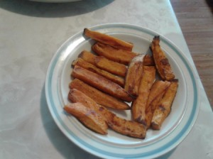 Roasted Sweet Potato Fries on plate