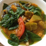 Kabocha Spinach Soup in bowl