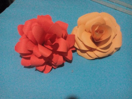 Layered Paper Flowers - slim petaled flowers next to original rose
