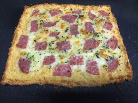 Flourless Chicken Pizza Crust with meat, cheese and spices