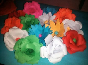 Layered Paper Flowers - mass of different colored paper flowers