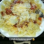 Bow Tie Pasta with Fire Roasted Tomatoes and Cheese