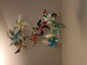 Handmade Pinwheel Mobile - view of hanging mobile from the underside