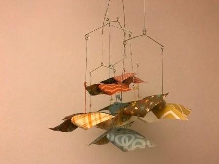 Handmade Pinwheel Mobile - closeup of finished hanging mobile