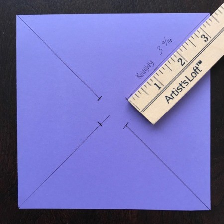 Handmade Pinwheel Mobile  - draw 3 9/16ths lines from each corner to center