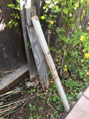 Wooden supports to keep a leaning fence upright.