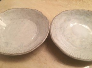 Salt for Removing Super Glue from Fingers - shallow bowls of water and salt
