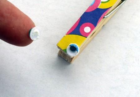 Dragonfly Fridge Magnet - gluing on wiggle eyes