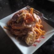 Baked Spaghetti with Mushroom Cream Sauce on plate