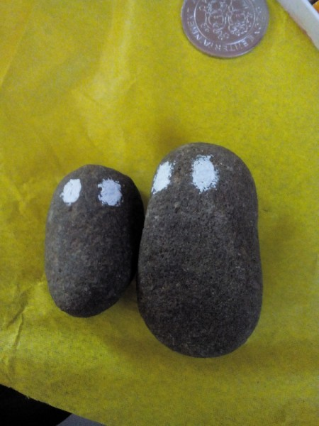 Father's Day Rock Art - paint two white circles on each rock