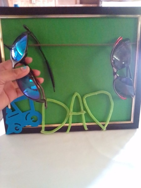 Frame of Shades for Father's Day - begin hanging glasses over the shoelace