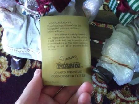 Value of Seymour Mann Dolls - back side of label