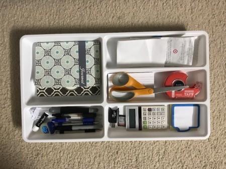 Organize Desk Drawer with Flatware Tray - desk items organized in tray