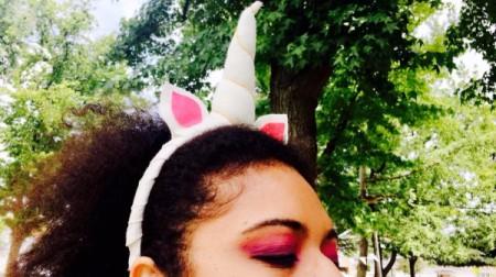 DIY Unicorn Headband - white headband on woman's head from side