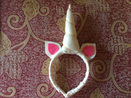 DIY Unicorn Headband - pink inner ear pieces glued in place