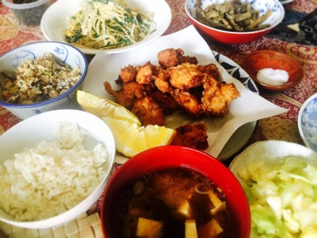 Japanese Style Fried Chicken (Karate) with other dishes