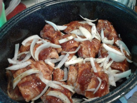 onions on top of Bacon Wrapped  Chicken