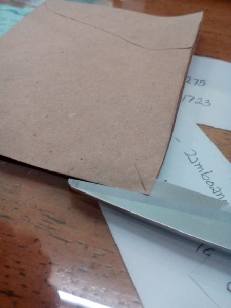 Budget Organizer Notebook - cut down the side of envelop pocket about 1 inch