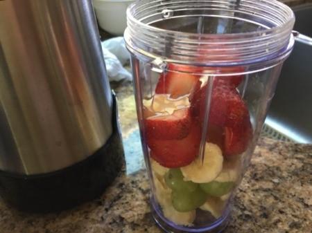 Fruit and Cacao Breakfast Drink ingredients in blender