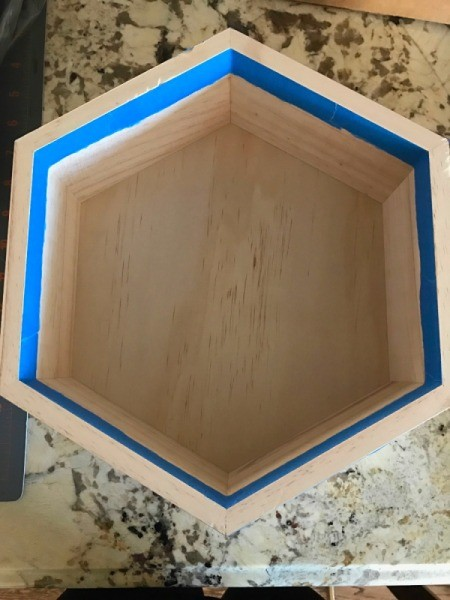 Honeycomb Hexagon Personalized Shelf - using masking or painter's tape around the inside of the shelf