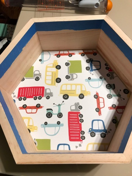 Honeycomb Hexagon Personalized Shelf - check fit paper - car and truck motif paper inside the hexagon