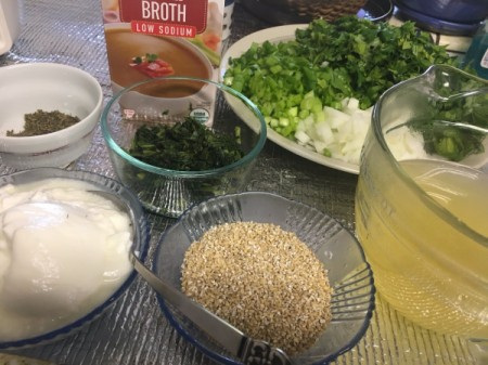 Herb and Yogurt Soup ingredients
