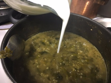adding yogurt and water to the  Soup