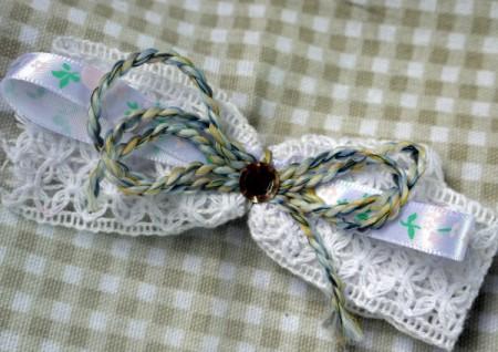 Shaggy Bow Hair Clip - embellishment added