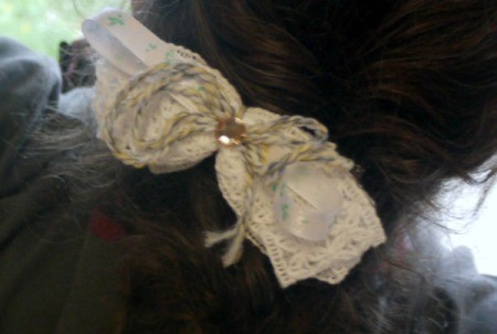 Shaggy Bow Hair Clip - closeup of clip in hair