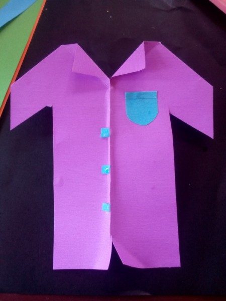 Describing My Dad Card - shirt with pocket and buttons glued on