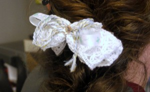 Shaggy Bow Hair Clip - finished bow in hair