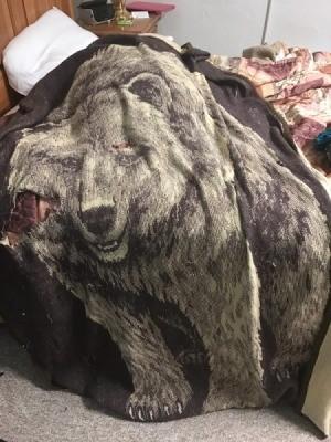 Repairing a Worn Blanket - bear image throw blanket