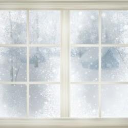 Windows on a snowy winter day.