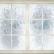 Windows on a snowy winter day.