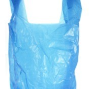 Blue plastic grocery bag.