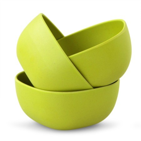 Green plastic bowls.