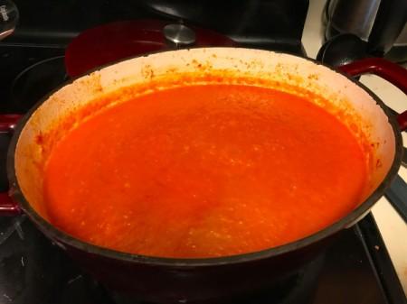 A pot of homemade tomato soup.