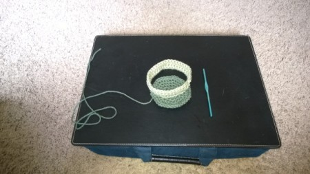 Crochet Koaster Keeper - getting ready to crochet vertical piece
