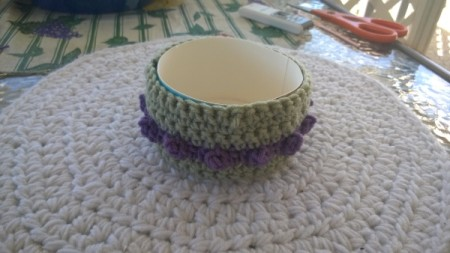 Crochet Koaster Keeper - glue crochet sleeve to box
