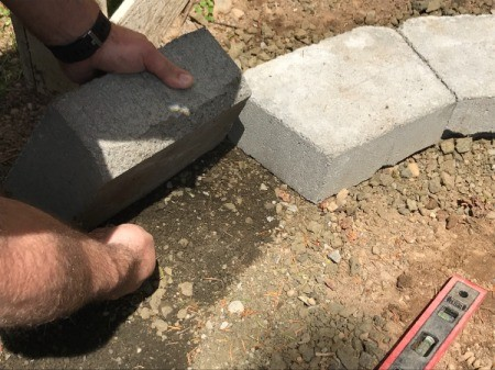Stacked Block Stairs - continuing to lay first layer