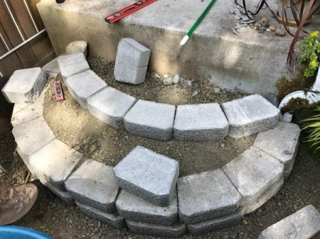 Stacked Block Stairs - laying first row of second step