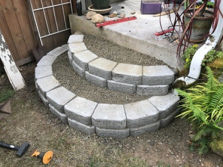 Stacked Block Stairs - second row added, gravel added and tamped