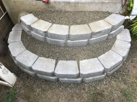 Stacked Block Stairs - both steps filled with gravel