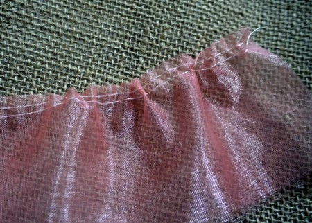 Ballet Dress Brooch - two rows of running stitches