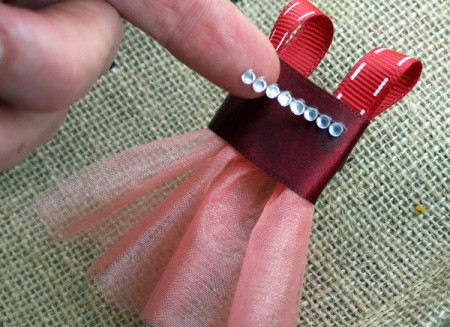 Ballet Dress Brooch - apply embellishments and allow glue to dry