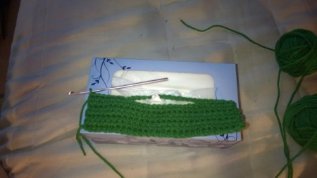Lego Tissue Box Cover - crochet chain